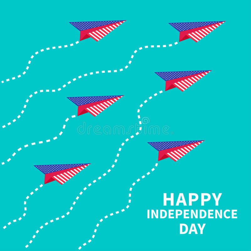 Six paper planes with dash line. Happy independence day United states of America. 4th of July. vector illustration