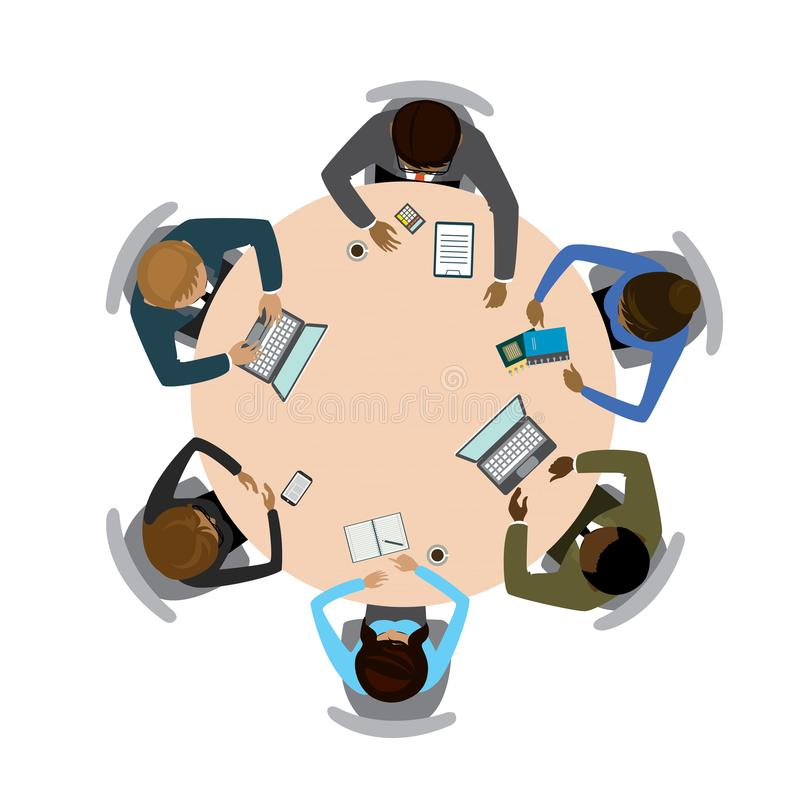 Six people different races sitting and working together at the vector illustration