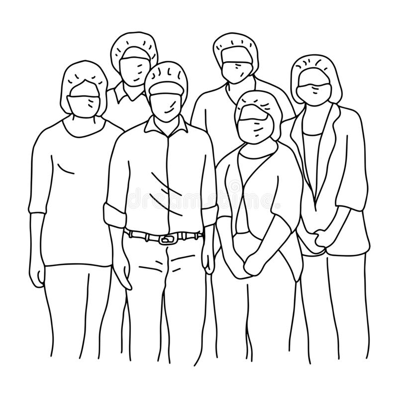 Six people wearing facial safety vector illustration sketch doodle hand drawn with black lines isolated on white background royalty free illustration