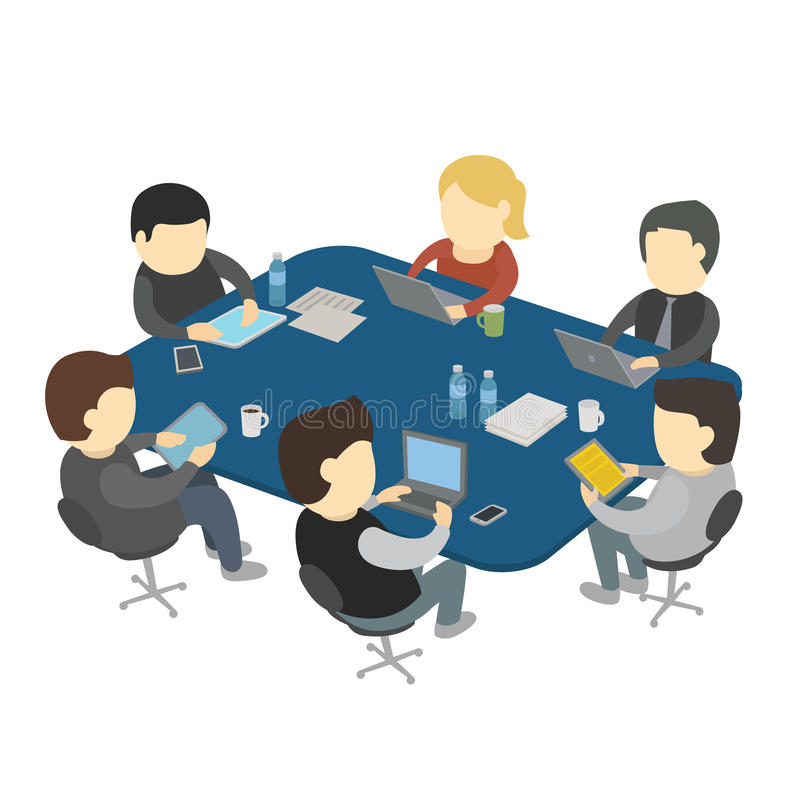 Six people work sitting at the table. stock illustration