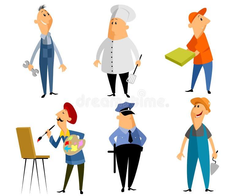 Six personnes de profession illustration de vecteur