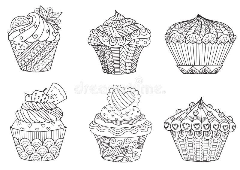 Six petits gâteaux de zendoodle pour l'élément de conception illustration libre de droits