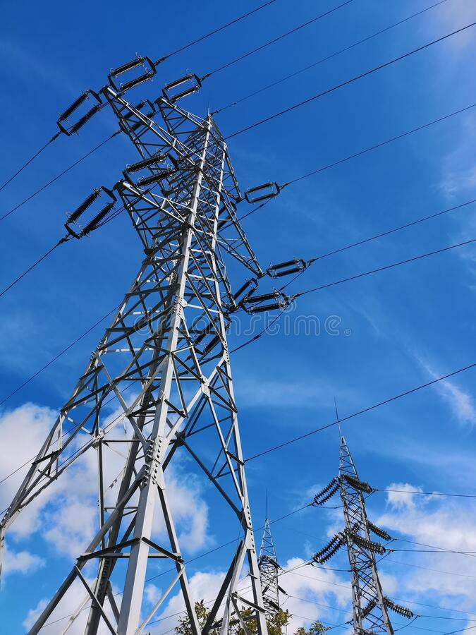 Six phase power line. stock photography