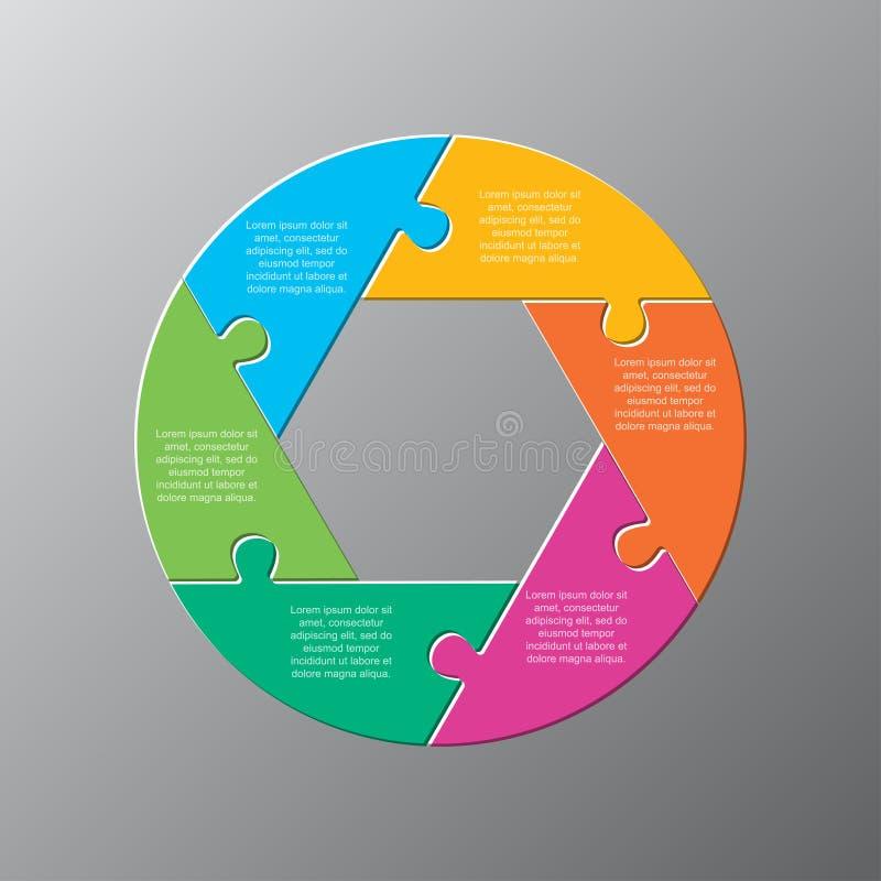 Six pieces jigsaw puzzle circles diagram graphic. Six pieces puzzle circles diagram. Circles business presentation infographic. 6 steps, parts, pieces of process vector illustration