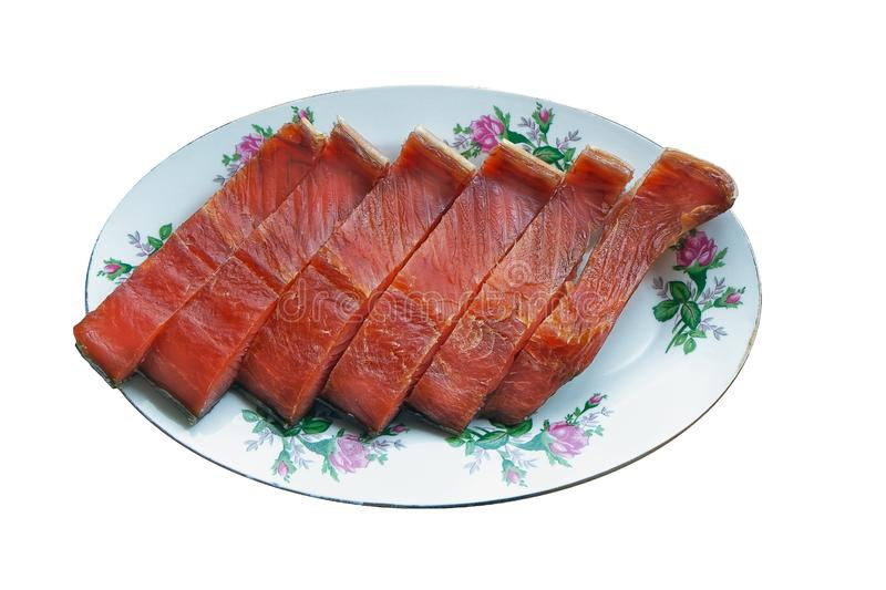 Six pieces of red fish on a plate royalty free stock images