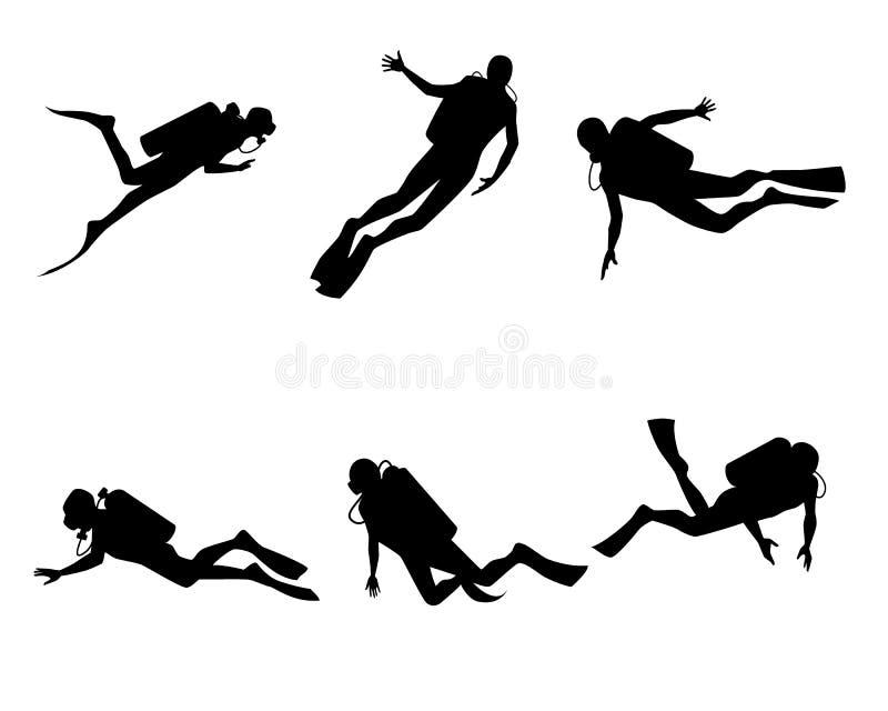 Six plongeurs réglés illustration libre de droits