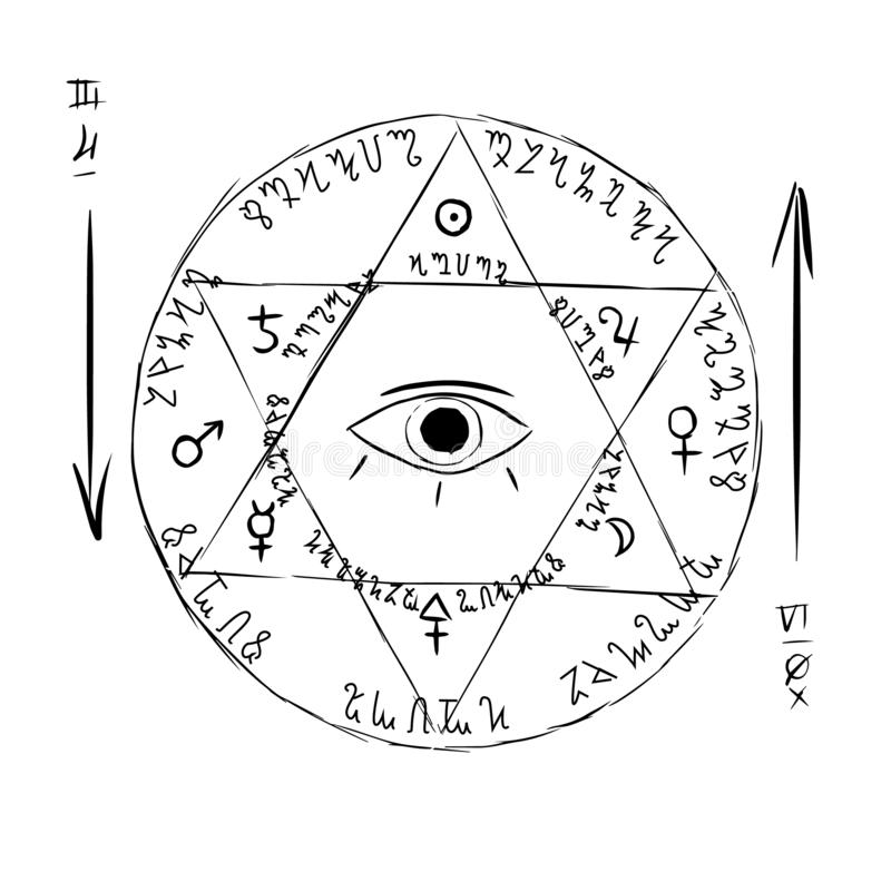 Six pointed star with all seeing eye pentagram vector illustration isolated on white vector illustration