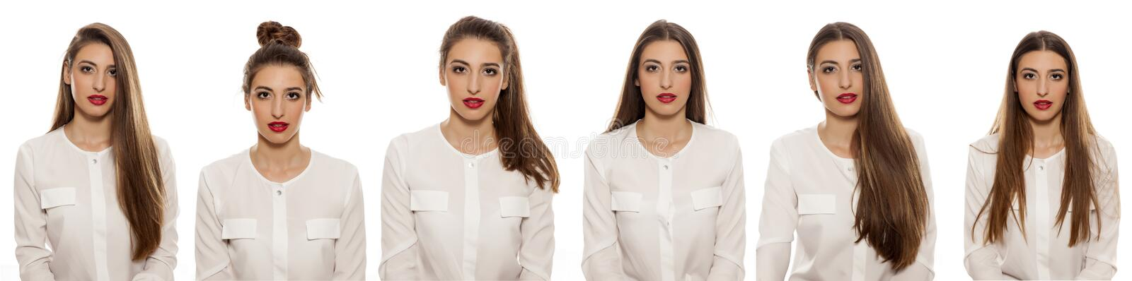 Six portraits - one woman. Six portraits of the same girl with different hair styles royalty free stock photography