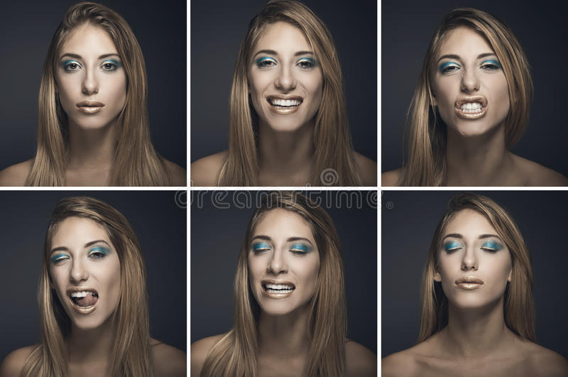 Six portraits of young woman in different expressions stock photos