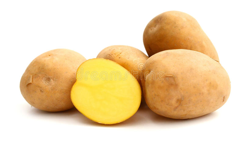 Six potatoes. Close up of potatoes on white background royalty free stock photos