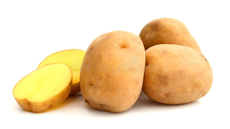 Six potatoes. Close up of potatoes on white background stock image