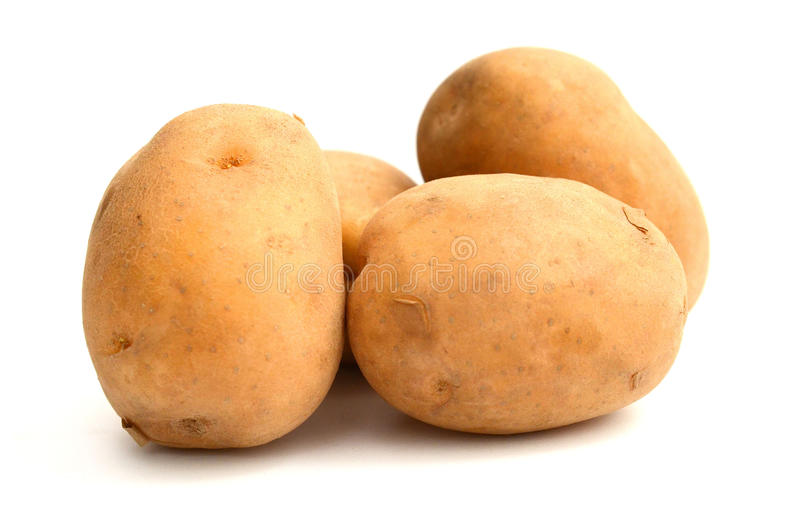 Six potatoes. Close up of potatoes on white background stock images