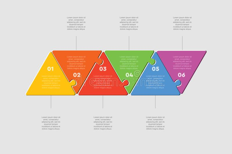 Six puzzle jigsaw triangle line diagram graphic. Six pieces puzzle triangles diagram. Triangle line business presentation infographic. 6 steps, parts, pieces of vector illustration