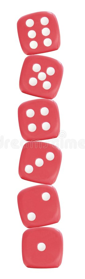 Six red dice royalty free stock images