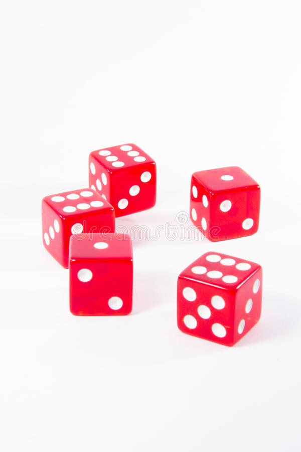 Six Red Dice For Play Stock Photography