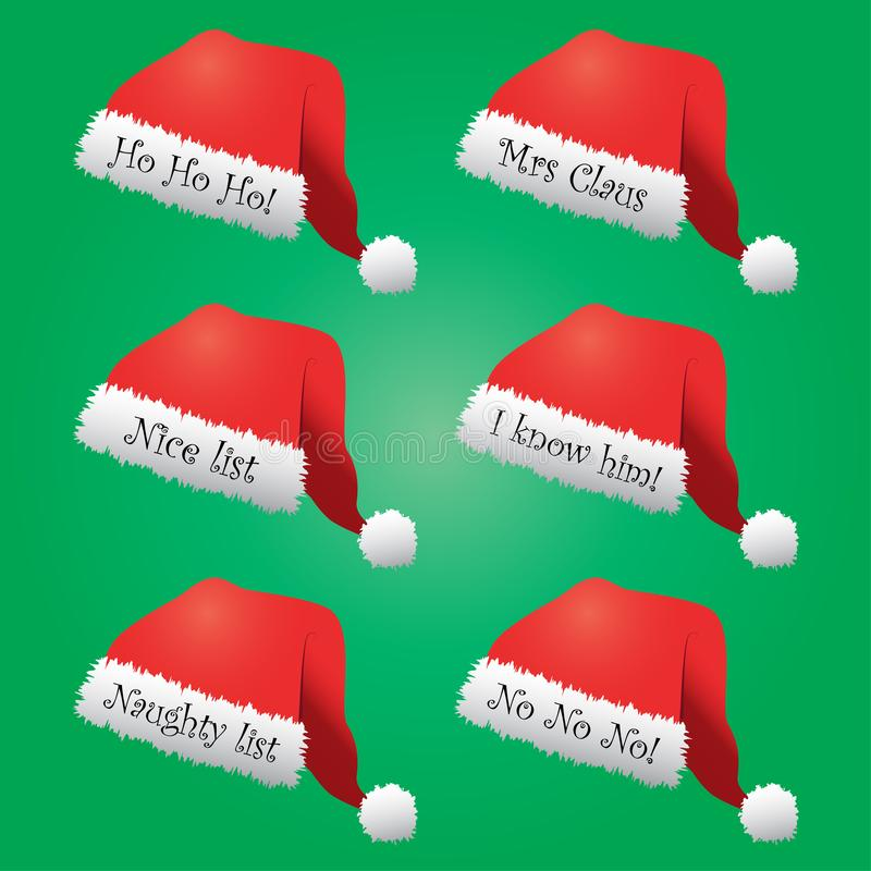 Santa hats with festive messages. Six red and white Santa hats with various festive messages royalty free illustration