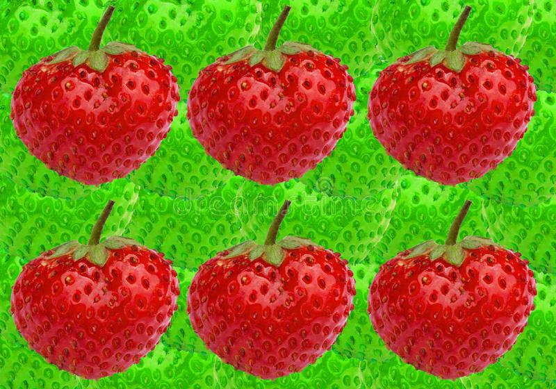 Six ripe berries strawberries. Fresh red berries on a green texture strawberries. stock photography