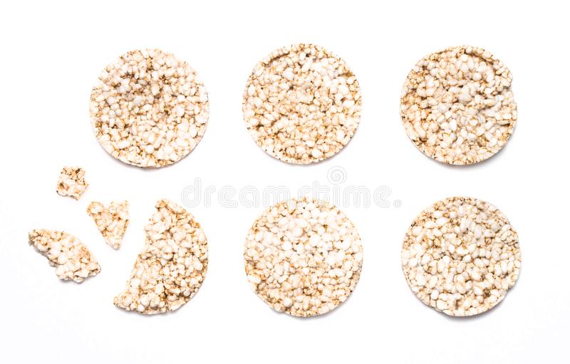 Six riz et gâteaux écrits d'isolement sur le blanc image libre de droits