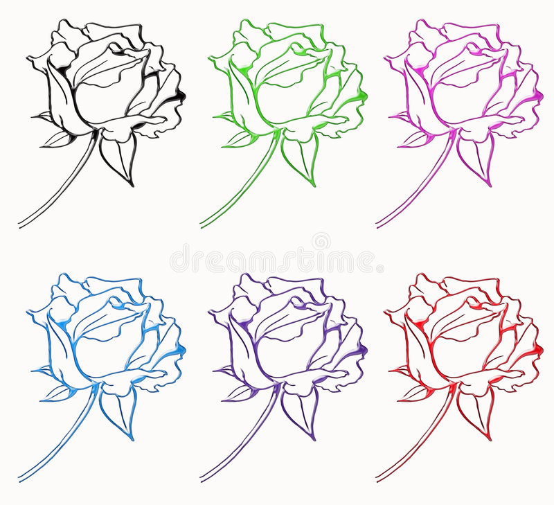 Download Six rose isolated stock illustration. Image of love, attractive - 6935005