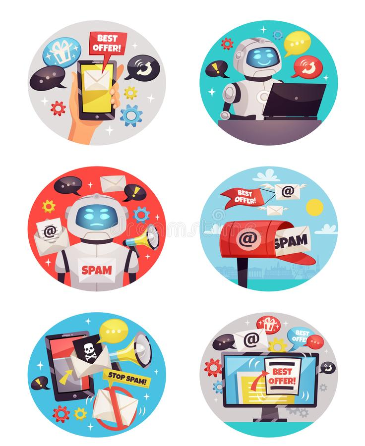 Six Round Spam Bot Icons stock illustration