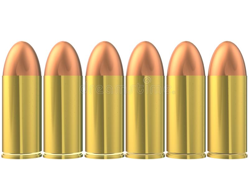 Six rounds of nine millimetre calibre parabellum bullets in a row aligned identical. A computer generated illustration image of six identical rounds of nine stock illustration