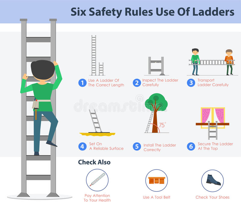Six safety rulers use of ladders royalty free illustration