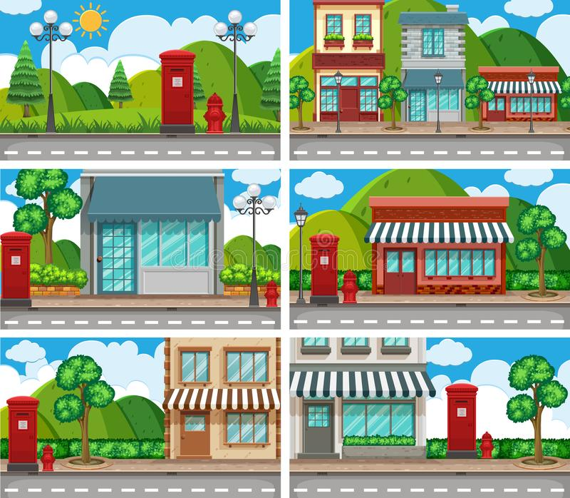 Six scenes of neighbors with building along the road. Illustration royalty free illustration
