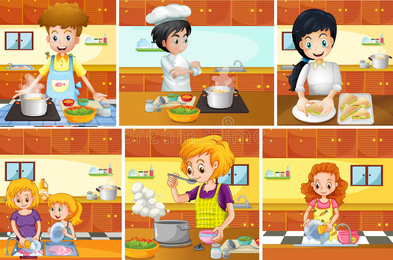 Six scenes of people cooking in kitchen stock illustration