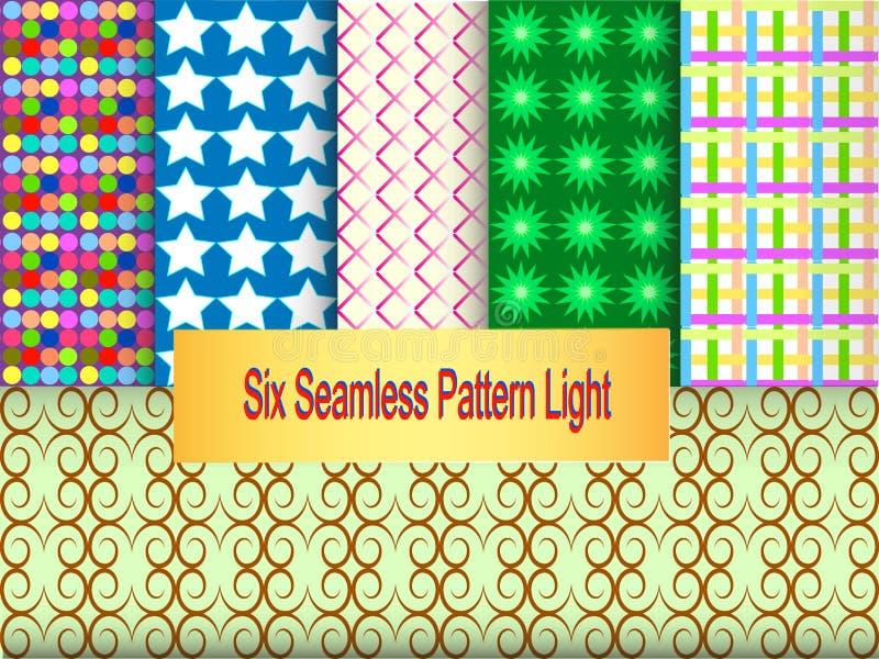 Six-Seamless-Pattern-Light royalty free stock image