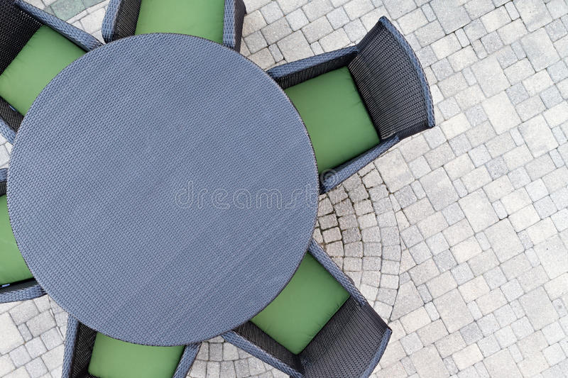 Six seater outdoor patio set stock images