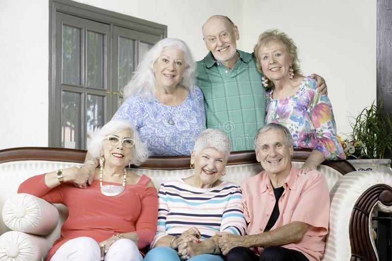 Six Senior Friends on a couch stock photos