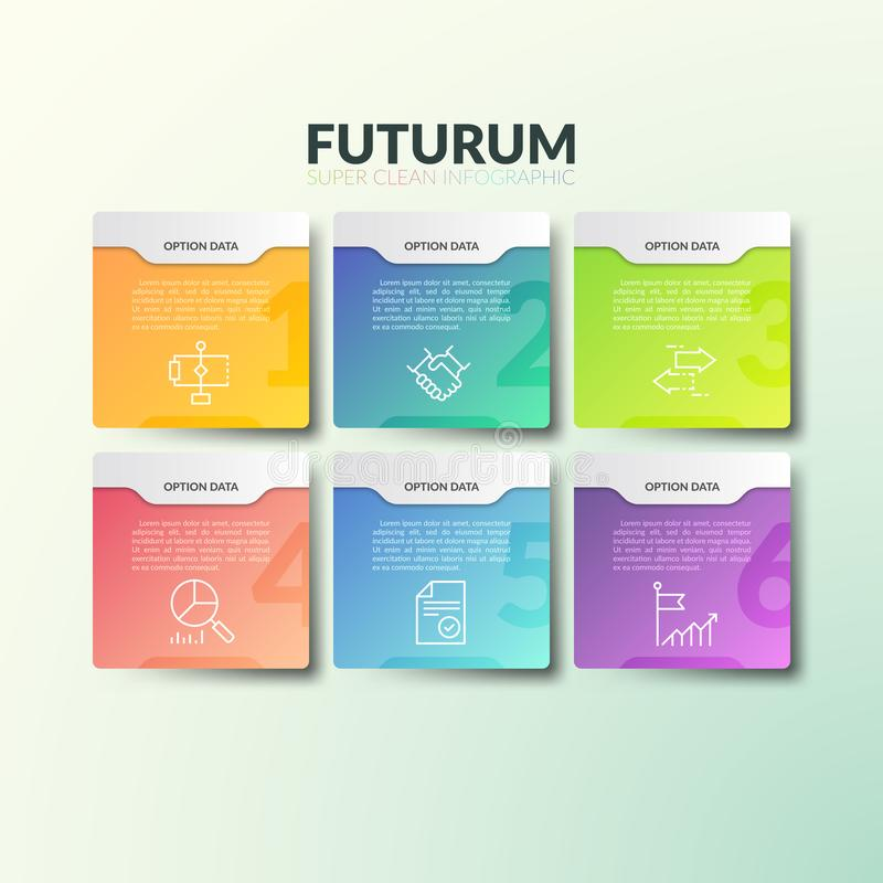 Six separate multicolored rectangular elements with numbers, thin line icons and place for text. Concept of 6 business. Options to choose. Futuristic royalty free illustration