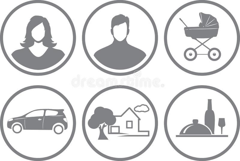 Six service icons for online store stock photos
