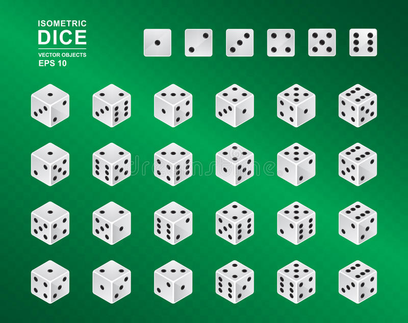 Six sided Isometric Dice. Vector illustration of white cubes with black pips in all possible turns on green checkered background. Casino symbol royalty free illustration