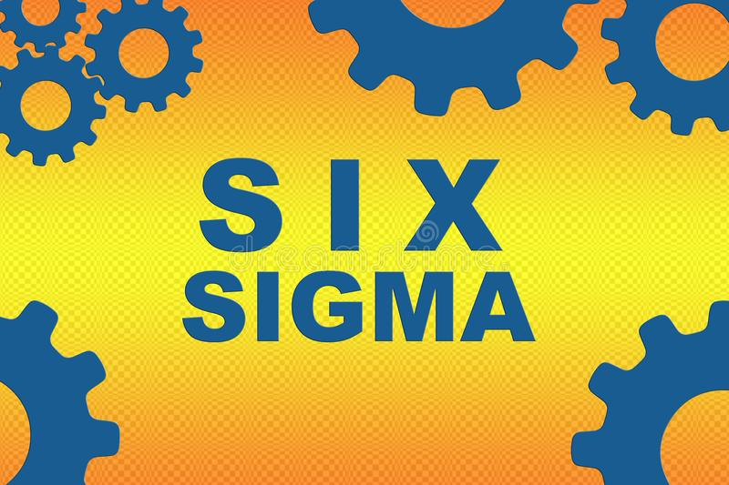 SIX SIGMA concept. SIX SIGMA sign concept illustration with blue gear wheel figures on orange gradient background vector illustration