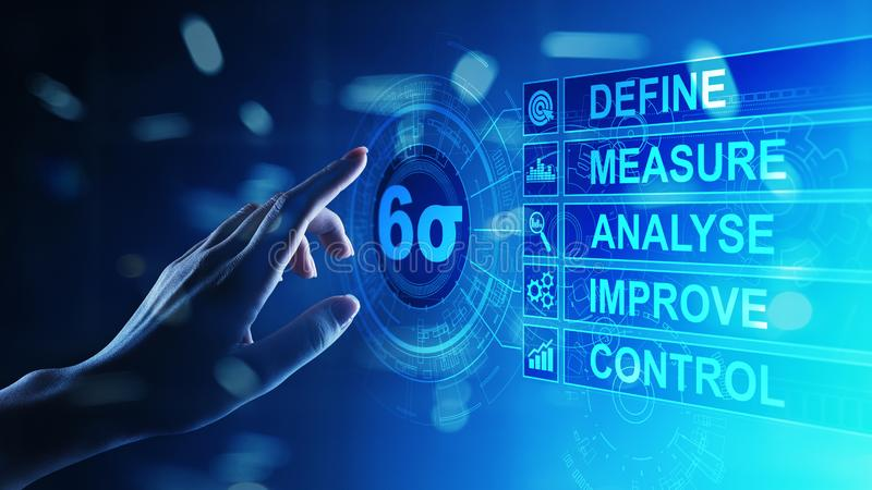 Six Sigma, Lean manufacturing, quality control and industrial process improving concept. Six Sigma, Lean manufacturing, quality control and industrial process royalty free stock photography