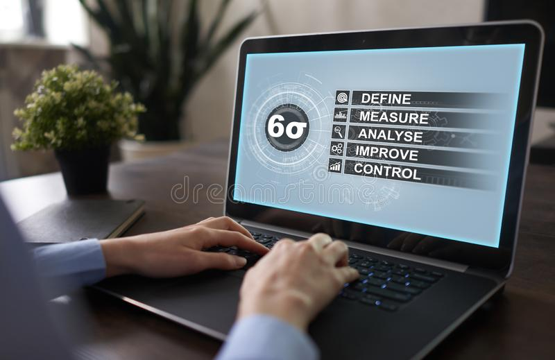 Six sigma - set of techniques and tools for process improvement. royalty free stock image