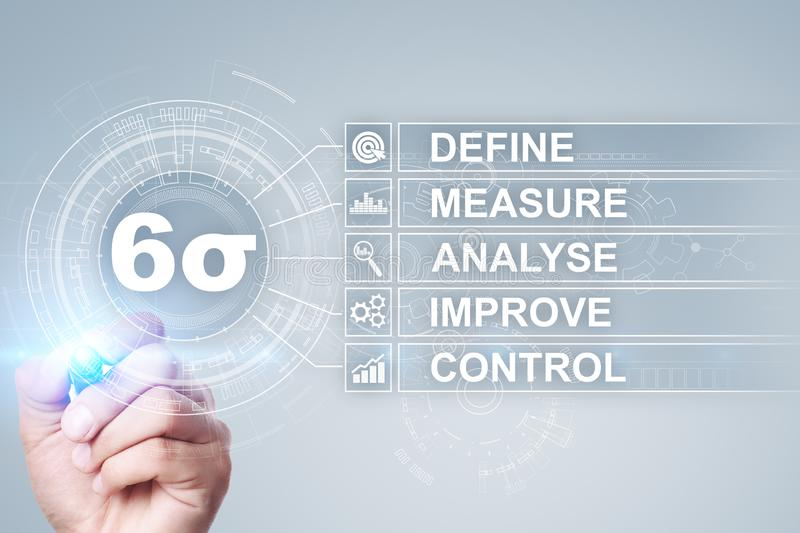 Six sigma - set of techniques and tools for process improvement. stock illustration