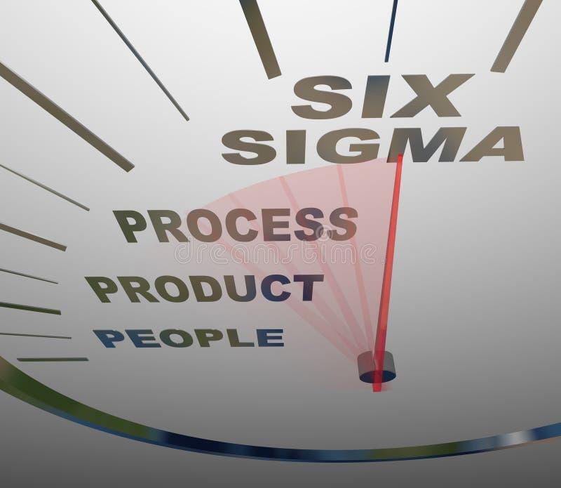 Six Sigma - Speedometer Speeding to Certification royalty free illustration