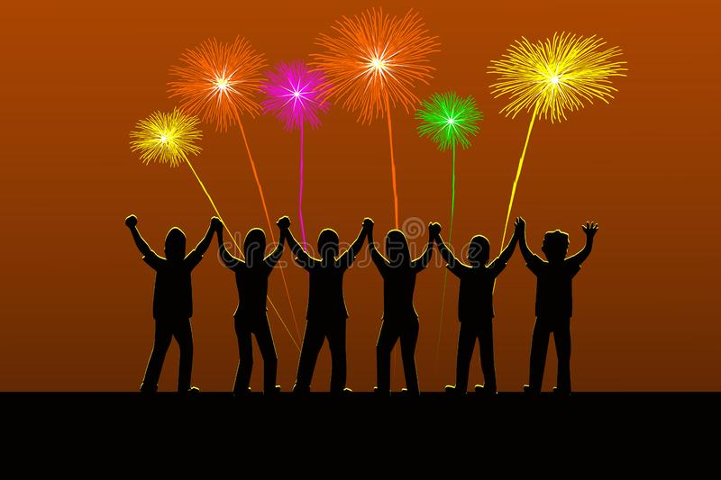 Six silhouette people are holding their hands gladly when there is fireworks lightning in the sky stock illustration