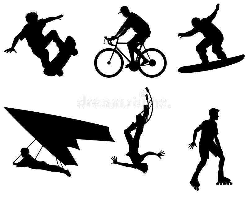 Six silhouettes d'adolescents illustration de vecteur