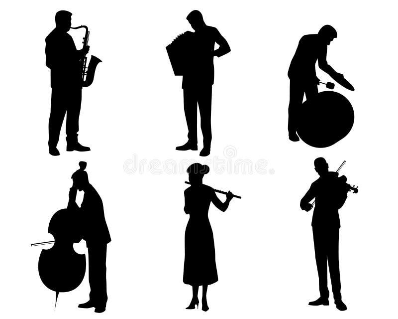 Six silhouettes de musiciens illustration libre de droits