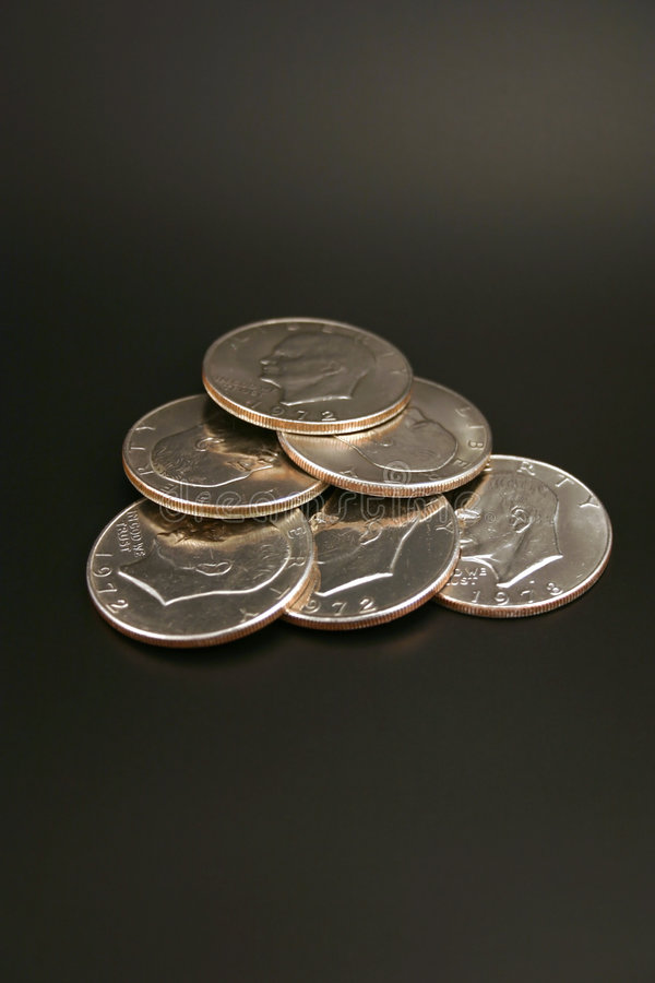 Six Silver Dollars stock photos