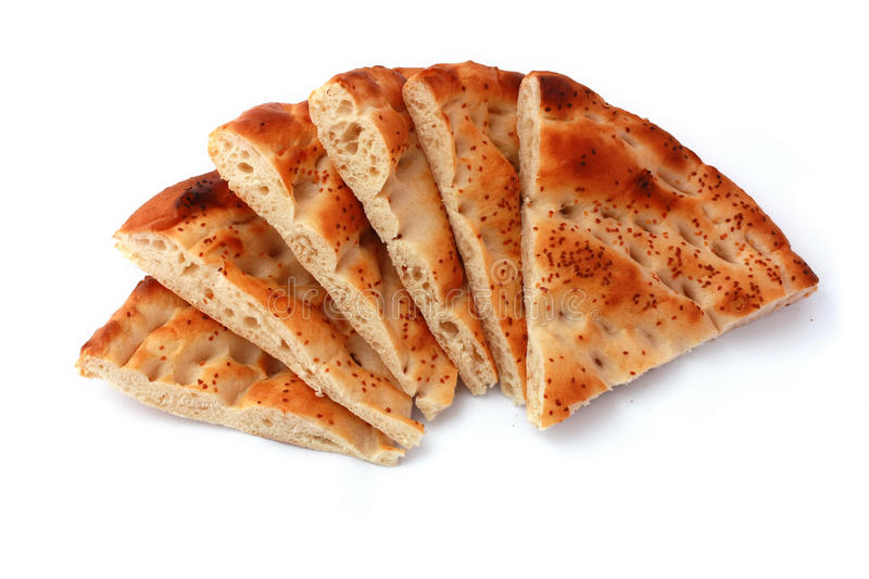 Six slices pita bread isolated on white royalty free stock images