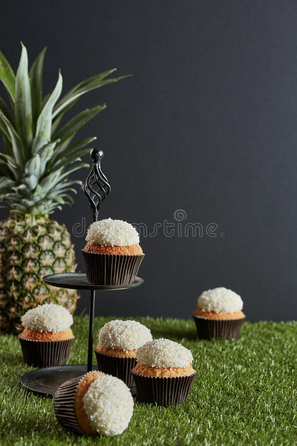 Six small cakes on the tier tray and artificial pitch. And a pineapple in the dark grey background stock photo