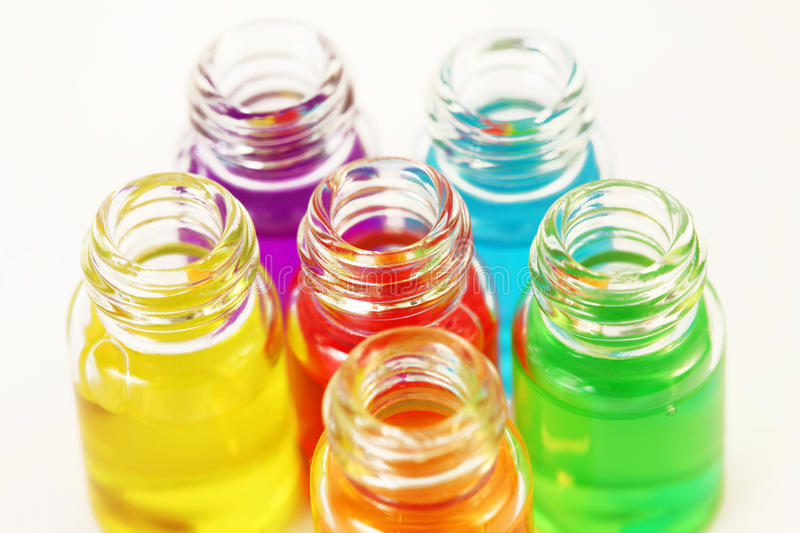 Download Six Small Opened Glassy Bottles Of Aromatic Oils Royalty Free Stock Photos - Image: 25096328