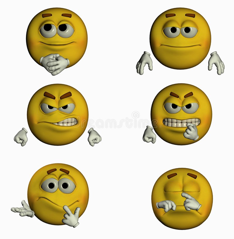 Six Smiles I/III. 6 3d smiles for you! varius emotions royalty free illustration