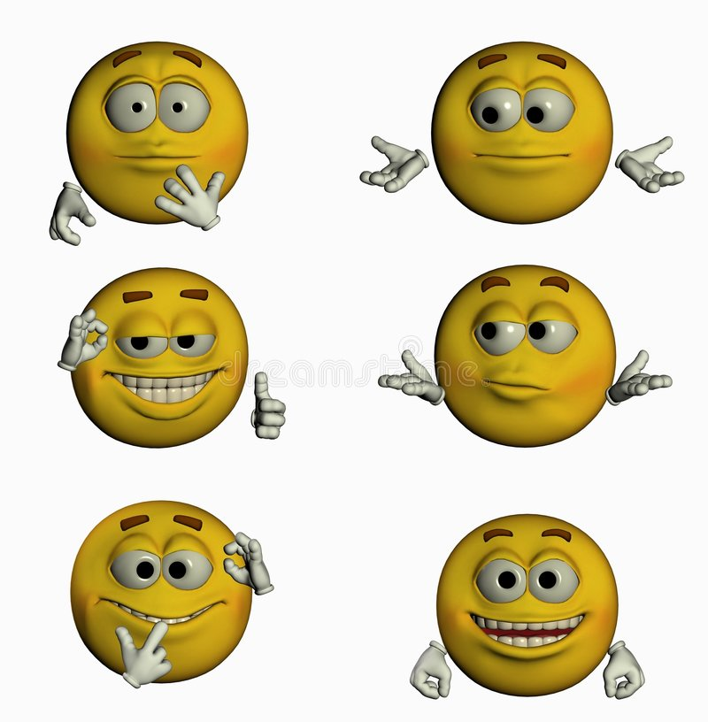 Six Smiles II/III. 6 3d smiles for you! varius emotions vector illustration