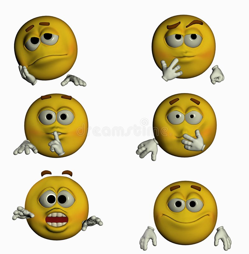 Six Smiles III/III. 6 3d smiles for you! varius emotions royalty free illustration