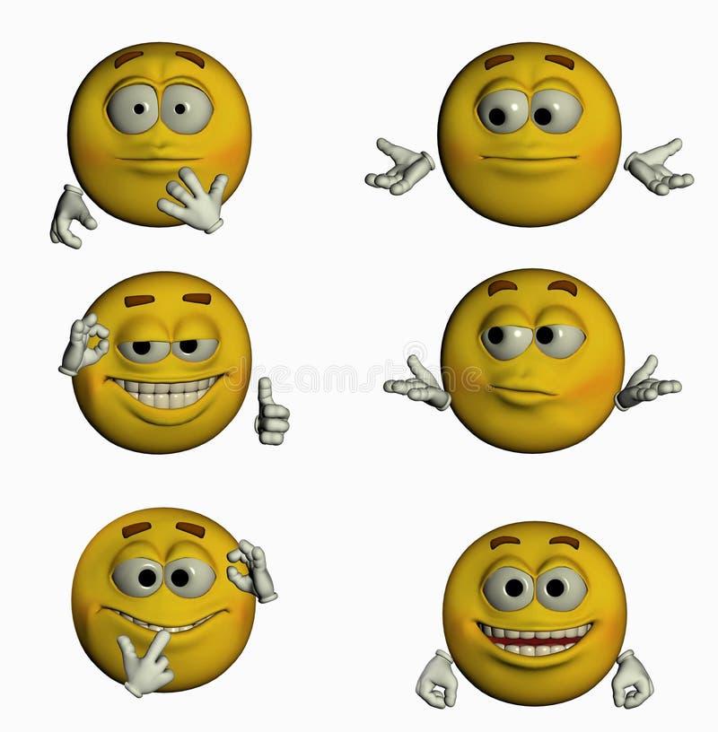 Six sourires II/III illustration de vecteur